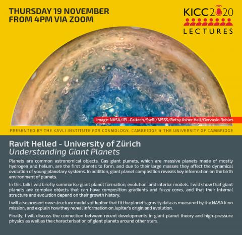 Kavli Lecture to be provided by Ravit Helled on Thursday 19th Nov 2020, 4pm UK Time